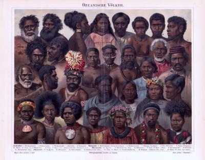 Chromolithographie aus 1893 zeigt Angehörige verschiedener Völker aus Ozeanien.