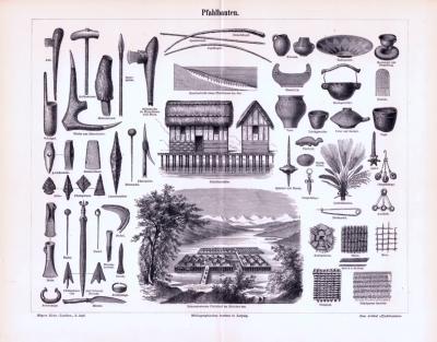 Stich aus 1893 zeigt verschiedene Gebäude und Gegenstände aus der Zeit der Pfahlbauten.