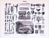 Stich aus 1893 zeigt verschiedene Gebäude und Gegenstände...