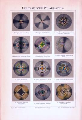 Chromolithographie aus 1893 zeigt 12 Darstellungen zur Chromatischen Polarisation.
