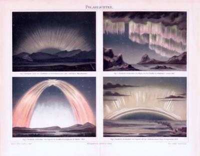 Chromolithographie aus 1893 zeigt 4 Darstellungen von Polarlichtern.