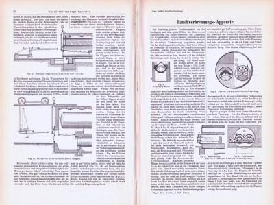 Technische Abhandlung aus 1893 mit Stichen zum Thema Rauchverbrennungs Apparate.