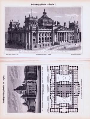 Stich und Abhandlung aus 1893 zum Reichstagsgebäude in Berlin und dem Reichsgerichtsgebäude in Leipzig.