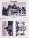 Stich und Abhandlung aus 1893 zum Reichstagsgebäude in...