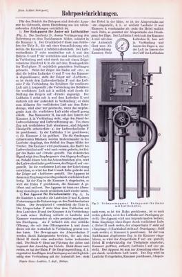 Technische Abhandlung mit Stichen aus 1893 zum Thema Rohrposteinrichtungen.