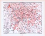 Farbige Lithographie eines Stadtplans von Rom und einer Landkarte der Umgebung Roms aus 1893.