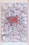 Rom Stadtplan + Umgebung ca. 1893 Original der Zeit