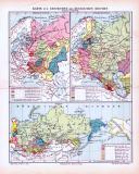 Farbig illustrierte historische Landkarten aus 1893 zeigen Epochen der Geschichte des Russischen Reichs.