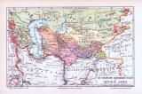 Farbige Lithographie aus 1893 zeigt die Russischen Eroberungen zur Zeit des Todes von Nikolaus dem  Ersten 1855.