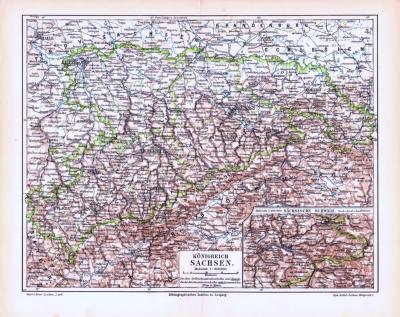 Farbige Lithographie einer Landkarte des Königreich Sachsen aus 1893. Maßstab 1 zu 850.000.