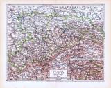 Farbige Lithographie einer Landkarte des Königreich...