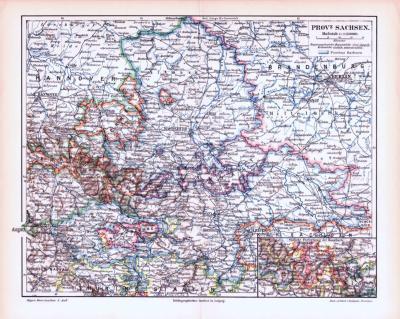 Farbige Lithographie einer Landkarte der Provinz Sachsen aus 1893. Maßstab 1 zu 1.150.000.