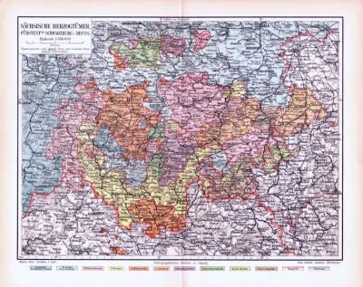 Farbige Lithographie einer Landkarte der sächsischen Herzogtümer aus 1893. Maßstab 1 zu 850.000.