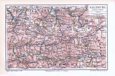 Farbige Lithographie einer Landkarte des Salzburger Landes aus 1893. Maßstab 1 zu 850.000.