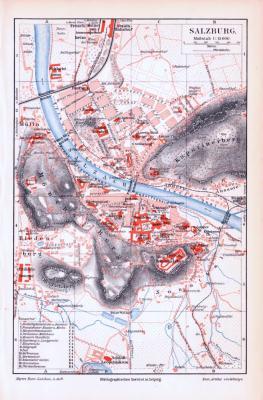 Farbig lithographierter Stadtplan von Salzburg aus 1893. Im Maßstab 1 zu 15.000.