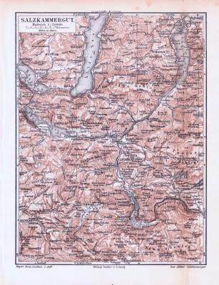 Farbige Lithographie einer Landkarte des Salzkammerguts aus 1893. Maßstab 1 zu 250.000.
