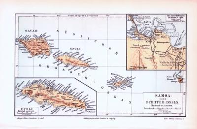 Farbige Lithographie einer Landkarte der Samoa Inseln aus 1893. Maßstab 1 zu 1.750.000.