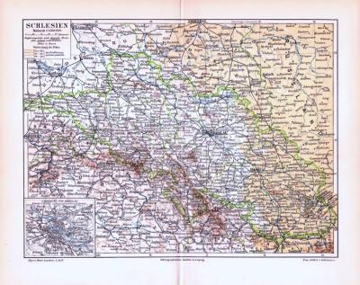 Farbige Lithographie einer Landkarte Schlesiens aus 1893. Maßstab 1 zu 1.500.000.