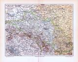 Farbige Lithographie einer Landkarte Schlesiens aus 1893....