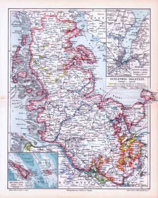 Farbige Lithographie einer Landkarte Schleswig-Holsteins aus dem Jahr 1893. Maßstab 1 zu 900.000.
