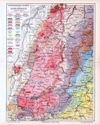 Farbige Lithographie einer geologischen Landkarte des Schwarzwaldes aus dem Jahr 1893. Maßstab 1 zu 900.000.