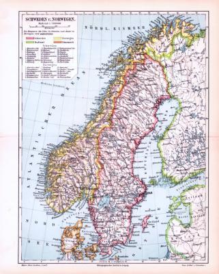 Farbige Lithographie einer Landkarte von Schweden und Norwegen aus dem Jahr 1893. Maßstab 1 zu 7.000.000.