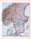 Farbige Lithographie einer Landkarte des südlichen Teils von Schweden und Norwegen aus dem Jahr 1893. Maßstab 1 zu 4.000.000.