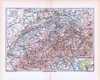 Farbige Lithographie einer Landkarte der Schweiz aus dem Jahr 1893. Maßstab 1 zu 1.400.000.