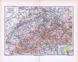Farbige Lithographie einer Landkarte der Schweiz aus dem...