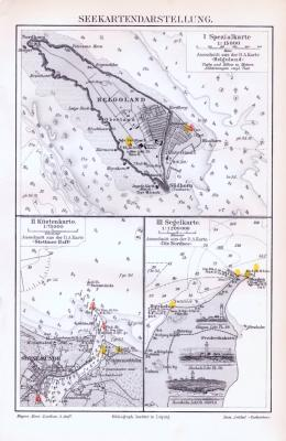 Farbig lithographierte Beispielkarten zur Seekartendarstelung aus 1893. Im verschiedenen Maßstäben.