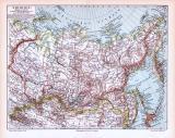 Farbige Lithographie einer Landkarte Sibiriens aus dem Jahr 1893. Maßstab 1 zu 21.000.000.