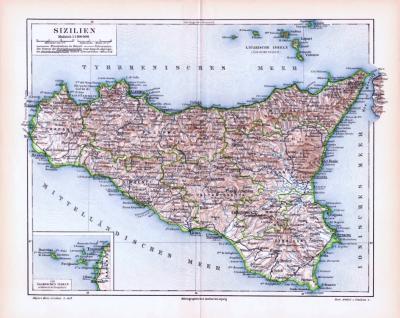 Farbige Lithographie einer Landkarte Siziliens aus dem Jahr 1893. Maßstab 1 zu 1.100.000.