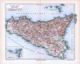 Farbige Lithographie einer Landkarte Siziliens aus dem...