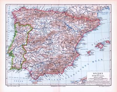 Farbige Lithographie einer Landkarte von Spanien und Portugal aus dem Jahr 1893. Maßstab 1 zu 4.500.000.