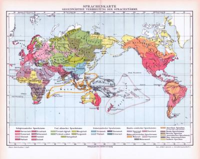 Farbige Lithographie einer Landkarte der Verteilung der Sprachen der Welt aus dem Jahr 1893.