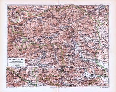 Farbige Lithographie einer Landkarte der Steiermark aus dem Jahr 1893. Maßstab 1 zu 850.000.