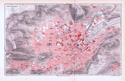 Farbige Lithographie eines Stadtplans von Stuttgart aus dem Jahr 1893. Maßstab 1 zu 14.000.