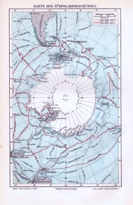 Farbige Lithographie einer Landkarte der Forschungsreisen am Südpol aus dem Jahr 1893. Maßstab 1 zu 60.000.000.