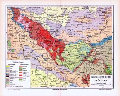 Farbige Lithographie einer geologischen Landkarte von Thüringen aus dem Jahr 1893. Maßstab 1 zu 415.000.