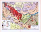 Farbige Lithographie einer geologischen Landkarte von...