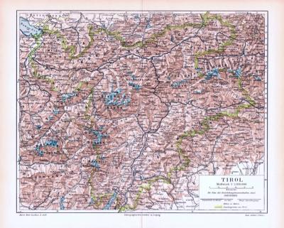 Farbige Lithographie einer Landkarte Tirols aus dem Jahr 1893. Maßstab 1 zu 1.100.000.