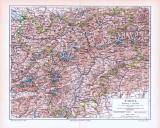 Farbige Lithographie einer Landkarte Tirols aus dem Jahr...