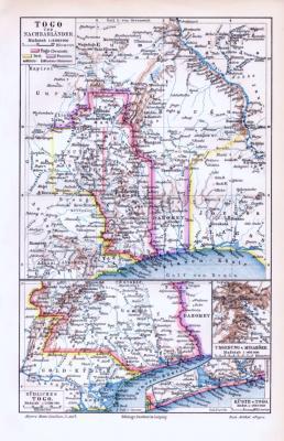 Farbige Lithographie einer Landkarte von togo und Nachbarländern aus dem Jahr 1893. Maßstab 1 zu 6.000.000.