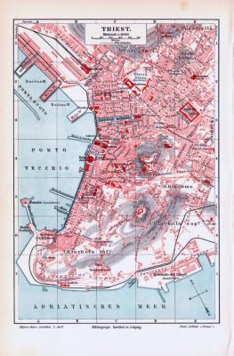 Farbige Lithographie eines Stadtplans von Triest aus dem Jahr 1893. Maßstab 1 zu 16.000.