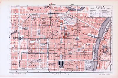 Farbige Lithographie eines Stadtplans von Turin aus dem Jahr 1893. Maßstab 1 zu 16.000.