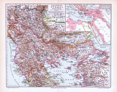 Farbige Lithographie einer Landkarte des europäischen Teils der Türkei aus dem Jahr 1893. Maßstab 1 zu 3.500.000.