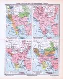 Farbige Lithographien von historischen Landkarten zur Geschichte der Europäischen Türkei aus dem Jahr 1893.