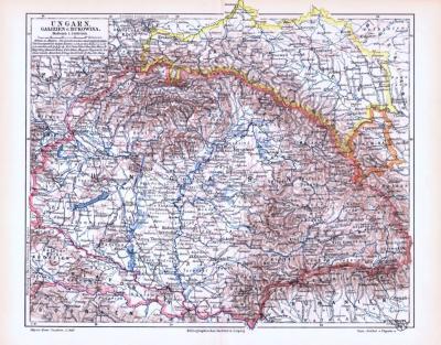 Farbige Lithographie einer Landkarte von Ungarn, Galizien und Bukowina aus dem Jahr 1893. Maßstab 1 zu 3.000.000.