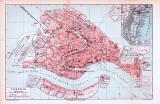 Farbige Lithographie eines Stadtplans von Venedig aus dem Jahr 1893. Maßstab 1 zu 13.250.