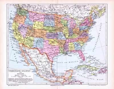 Farbige Lithographie einer Landkarte der Vereinigten Staaten von Amerika und Mexiko aus dem Jahr 1893. Maßstab 1 zu 20.000.000.